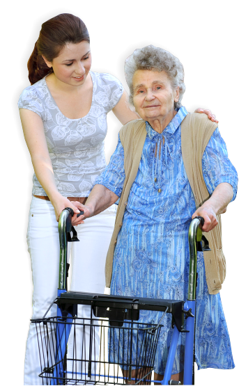 caretaker guiding her patient