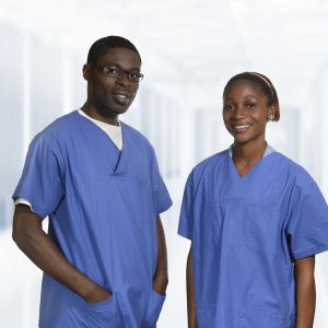 African doctors in blue dress